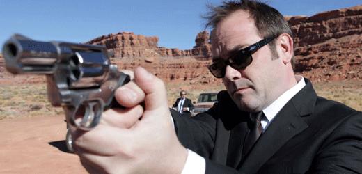 Mark Sheppard With A Gun